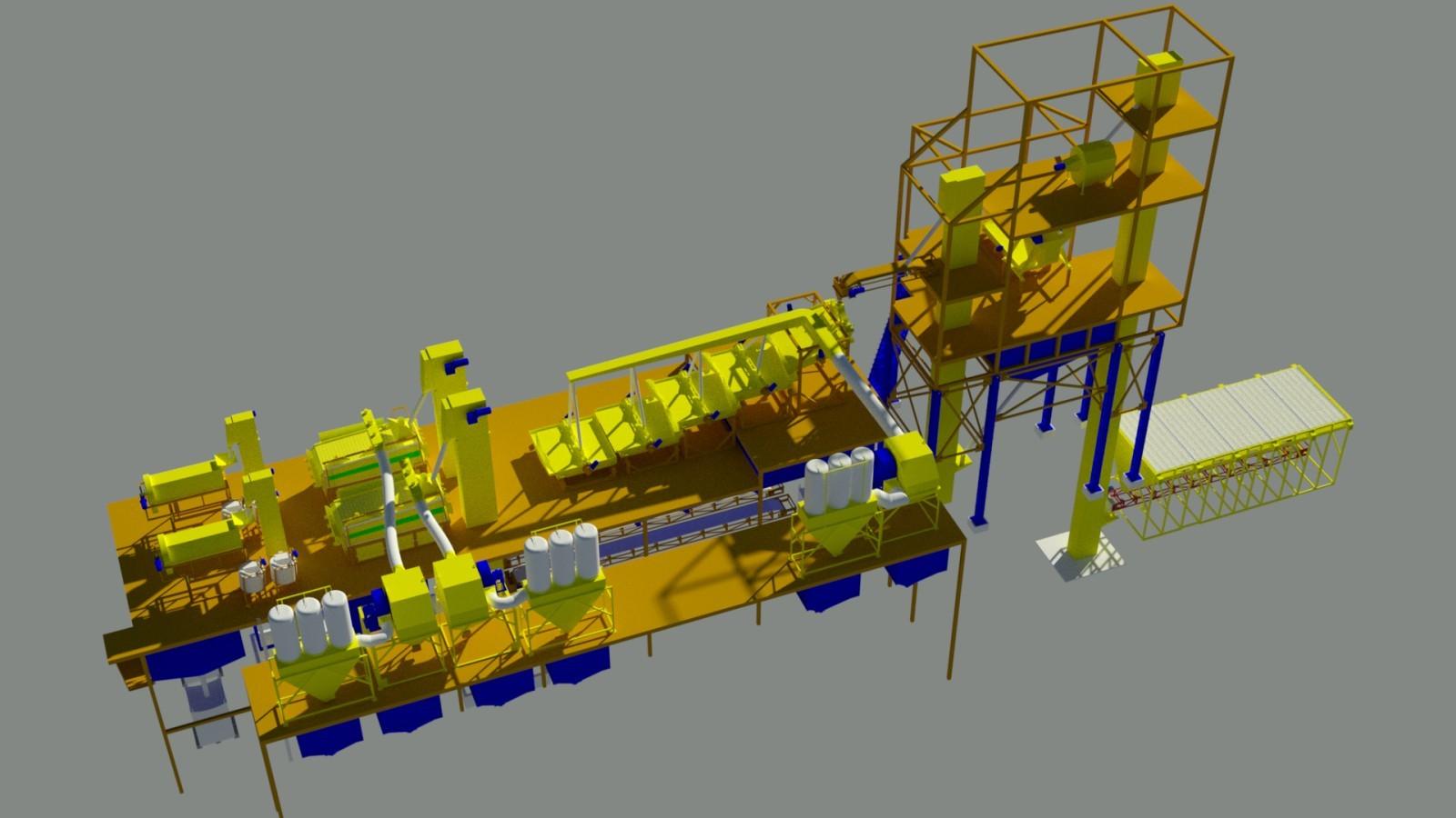 Семенной завод производительностью до 10т, вид сверху | Фадеев Агро