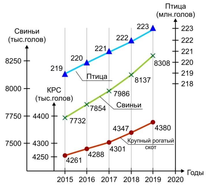 Прогноз роста поголовья (КРС, свиньи, птица) в Украине в период 2015-2019 гг.